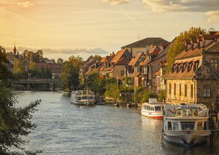 Klein-Venedig (Little Venice), historic quarter on the shore of Regnitz river at Bamberg, Bavaria, Germany Stock Photo