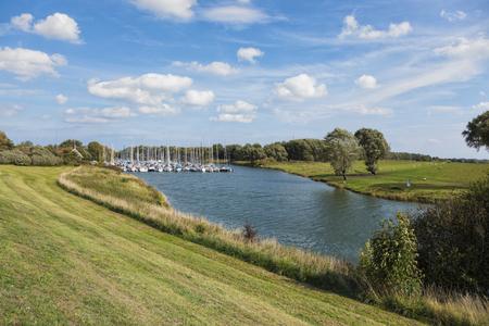 Marina on Hooksieler Binnentief lake at Hooksiel, Lower Saxony, Germany