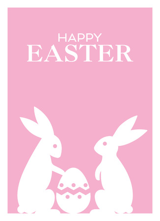 Happy Easter greeting cards with Easter Bunnies and Easter Egg vector illustration. Pink background.
