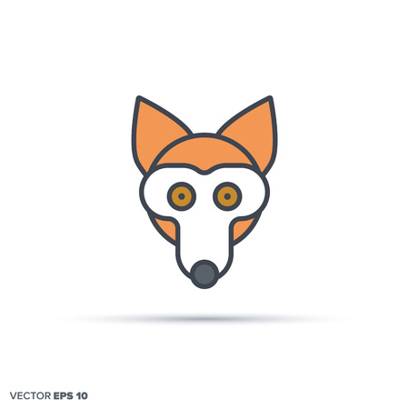 Cute fox face outline vector icon with color fill. Funny animal illustration.
