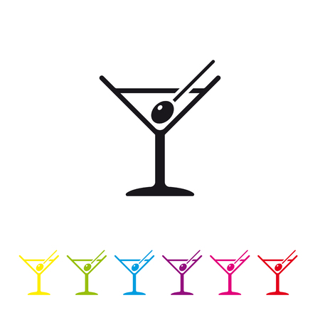 Martini cocktail with olive on toothpick vector icon. Alcoholic beverage icon in black and six color variations. 向量圖像