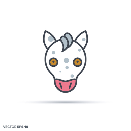 Cute horse face outline vector icon with color fill. Funny animal illustration.
