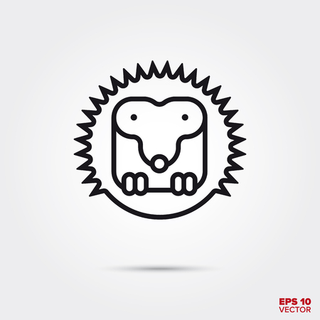 Cute hedgehog line icon vector illustration