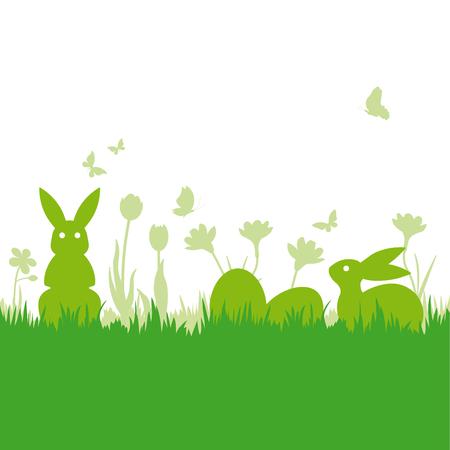 Fondo de Pascua con conejitos y huevos slhouettes en ilustración de vector de pradera