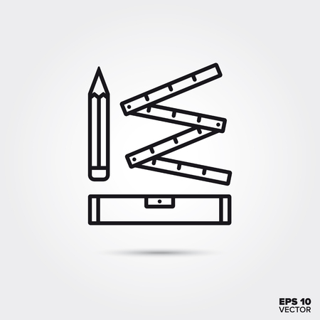 pencil, spirit level and folding rule home improvement tools line icon vector illustration. Home decoration and interior symbol.