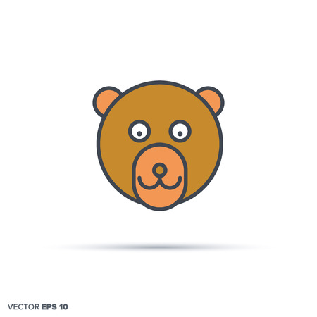 Cute bear face outline vector icon with color fill. Funny animal illustration.
