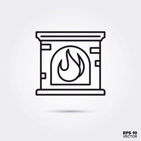 fireplace line icon vector illustration. Home decoration and interior symbol.