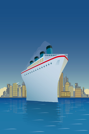Vintage style vector illustration of giant cruise ship with big city skyline in background