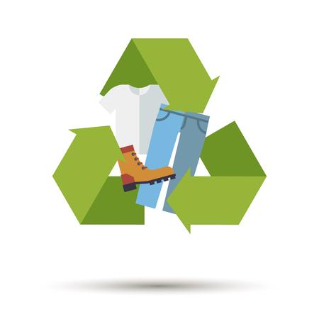 Design plat utilisé des vêtements, des chaussures et des textiles icône de vecteur de recyclage