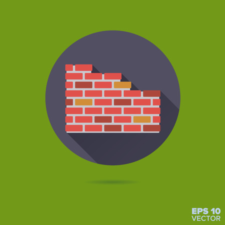 Brick Wall flat design long shadow vector icon