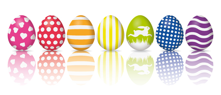 Holiday banner, cColorful easter eggs with white patterns reflected on white background