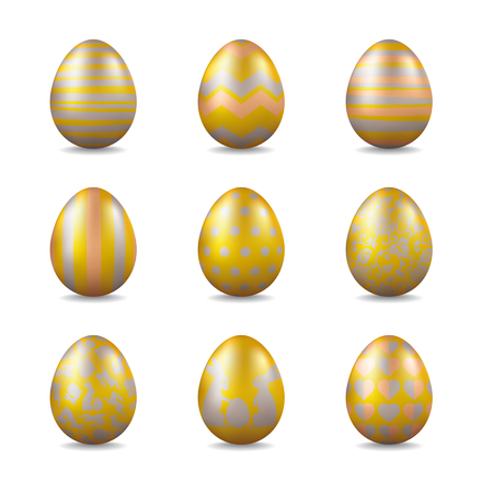 Collection of golden easter eggs with silver and bronze patterns vector illustration