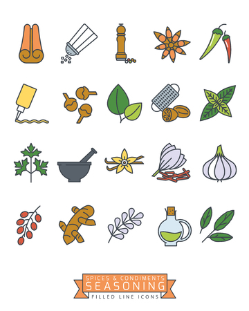Spices, condiments and seasoning vector filled line icon set