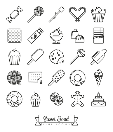 Sweet food line icon vector collection with sweets, candy, chocolates and cakes Illustration