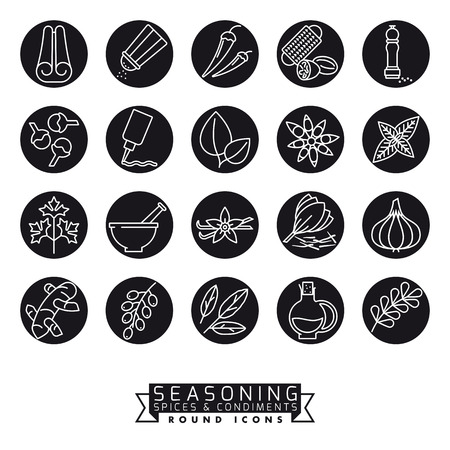 Collection of spices, herbs, condiments and seasoning vector icons, negative in black circles 免版税图像 - 125997738