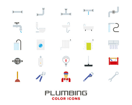 Plumbing and sanitary facilities vector color icon collection
