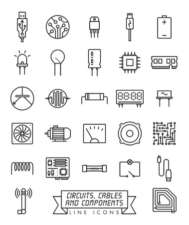 Collection of electronic components, circuits and cables vector line icons. Microtechnology symbols. Иллюстрация