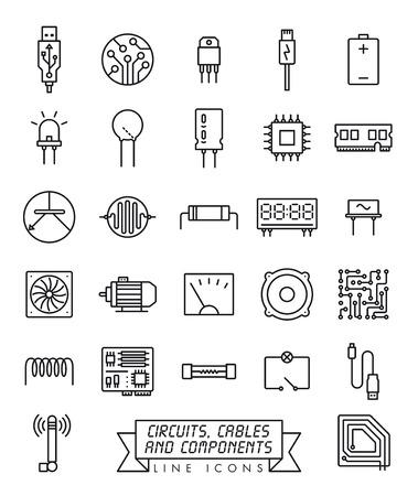 Raccolta di componenti elettronici, circuiti e cavi icone di linea del vettore. Simboli di microtecnologia.