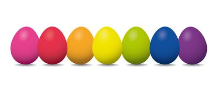 Fila di uova di Pasqua nei colori dell'arcobaleno su sfondo bianco Vettoriali