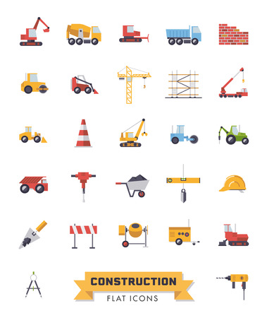 Flat design isolated construction industry and tools vector icons set