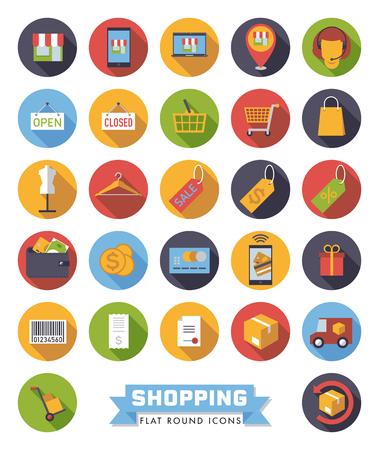 Runde flache Design-Einkaufs- und Einzelhandelsvektorikonen eingestellt