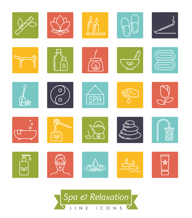 Spa, aromatherapy and herbal medicine square vector line icon collection. Set of 25 symbols. Stock Vector - 125997744
