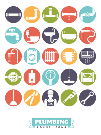 Plumbing and sanitary facilities vector round color icon collection