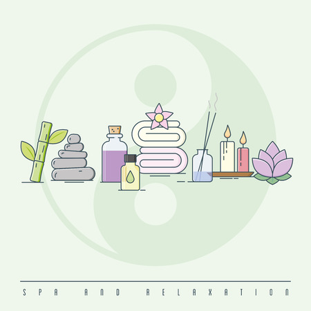 Spa and relaxation concept colorized line art vector illustration Illustration
