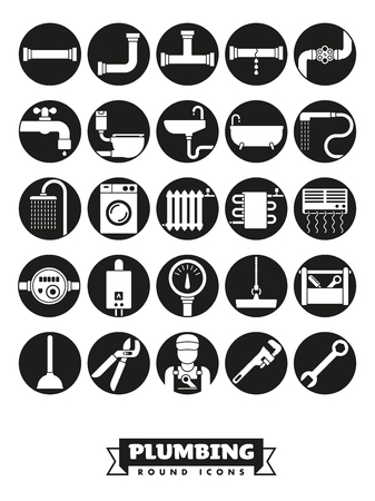 Plumbing and sanitary facilities vector round black icon collection
