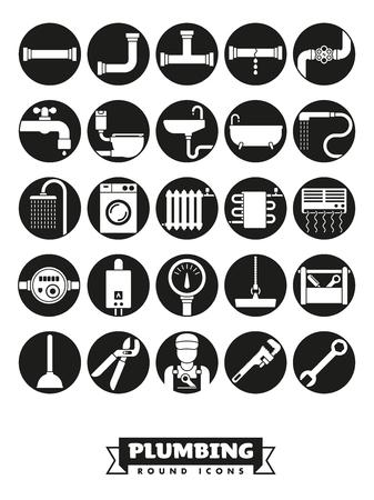Sanitär- und Sanitäranlagen Vektor runde schwarze Icon-Sammlung