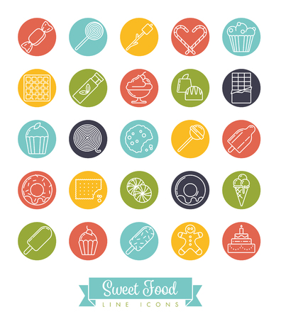 Sweet food line icon vector collection with sweets, candy, chocolates and cakes in color circles Illustration