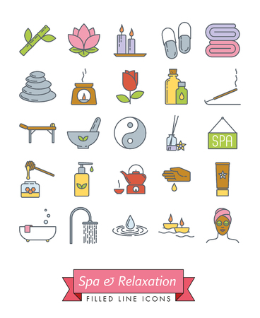 Spa, aromatherapy and herbal medicine vector filled line icon collection. Set of 25 symbols. Vettoriali