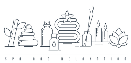 Spa and relaxation concept line art vector illustration