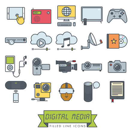 Collection of digital media and equipment vector filled line icons. Modern technology symbols. Stockfoto - 117794698