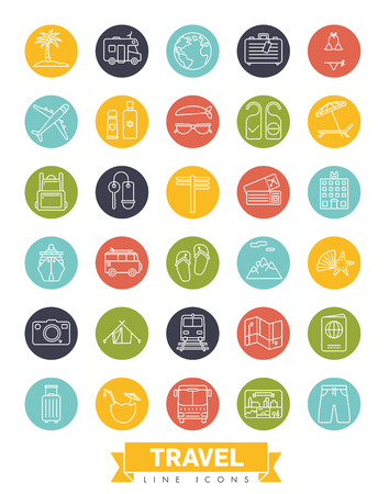 Summer holidays and global travel round line icon collection