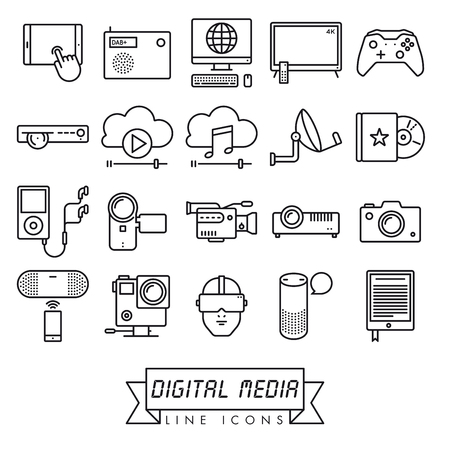 Collection of digital media and equipment vector line icons. Modern technology symbols. Stock Illustratie