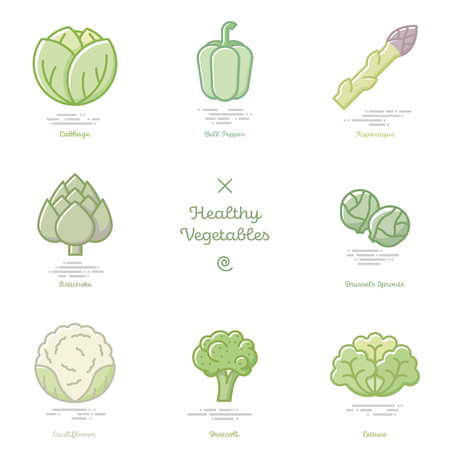 Vector illustration of eight healthy vegetables including cabbage, bell pepper, asparagus, artichoke, brussels sprouts, cauliflower, broccoli and lettuce