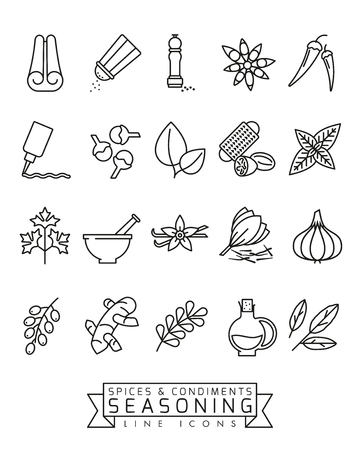 Spices, condiments and seasoning vector line icon set
