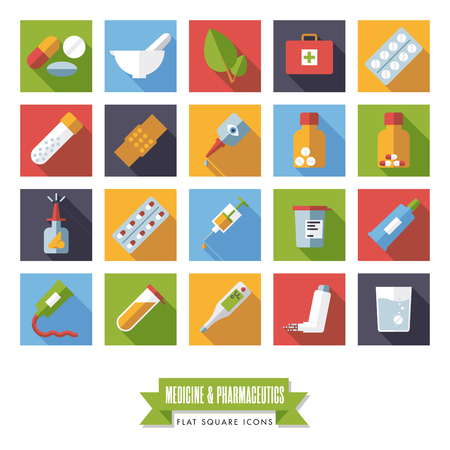 Collection of flat design long shadow square medicine and pharmaceutics icons