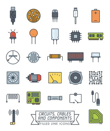 Sammlung von elektronischen Komponenten, Schaltungen und Kabeln Vektor gefüllte Liniensymbole. Farbsymbole der Mikrotechnik. Vektorgrafik