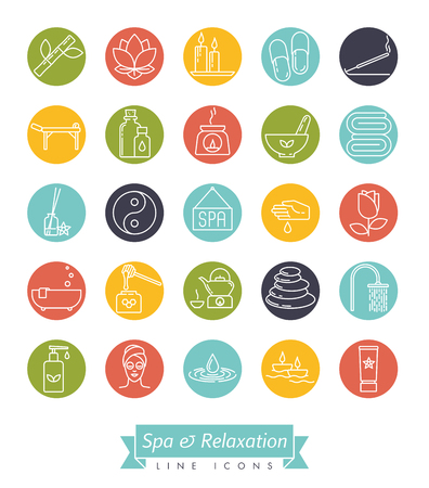 Spa, aromatherapy and herbal medicine round vector line icon collection. Set of 25 symbols. Illustration