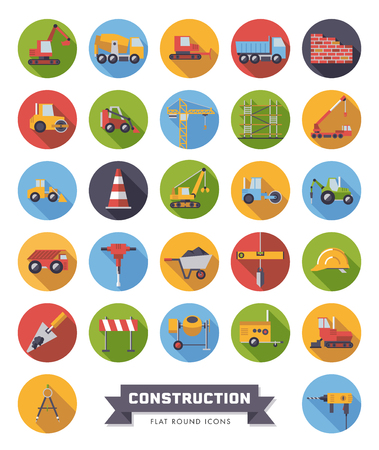 Flat design long shadow round construction industry and tools vector icons set