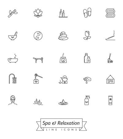 Colección de iconos de línea de vector de spa, aromaterapia y hierbas medicinales. Conjunto de 25 símbolos.