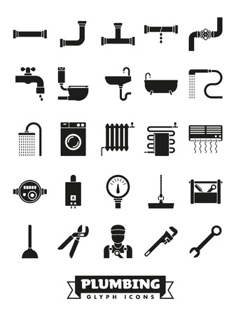 Plumbing and sanitary facilities vector glyph icon collection Illustration
