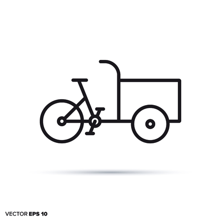 Cargobike vector line icon. Environment friendly transportation symbol. Иллюстрация