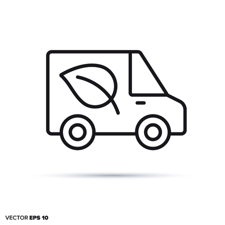 Delivery van with leaf vector line icon. Ecological and sustainable transport symbol.