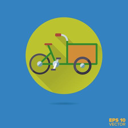 Cargobike flat design long shadow vector icon. Environment friendly transportation symbol.