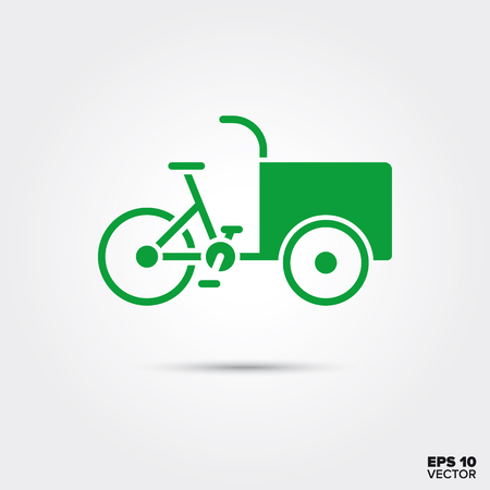 Cargobike icon, Sustainable delivery vehicle, eco-friendly transportation symbol. EPS 10 Vector.