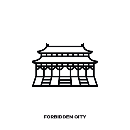 Forbidden City at Beijing, China, vector line icon. International landmark and tourism symbol.