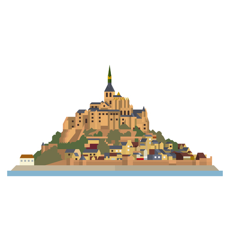 Flat design isolated vector icon of Le Mont-Saint-Michel, island, village and monastery off the French Normandy coast.